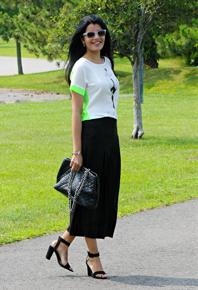 How To Wear Culottes Pants, ASOS Culottes. Pleated Culottes, Midi Length Culottes, Chanel Quilted Bag Lookalike