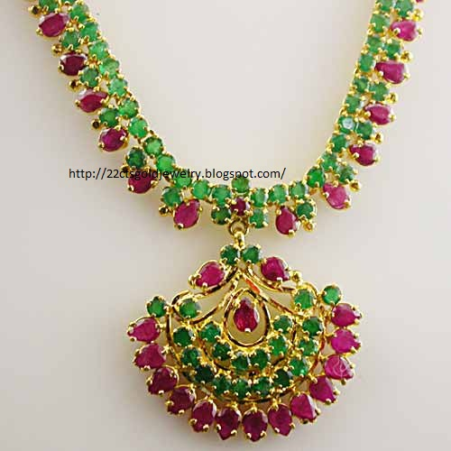 gold jewellery designs 22cts light weight cz ruby emerald