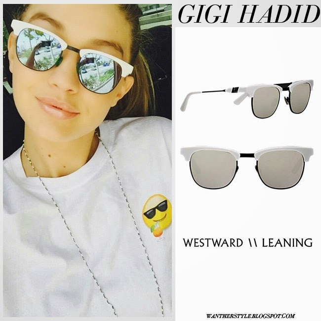 Gigi Hadid with silver mirrored white frame Westward Leaning Vanguard 11 sunglasses and emoji print shirt want her style summer fashion