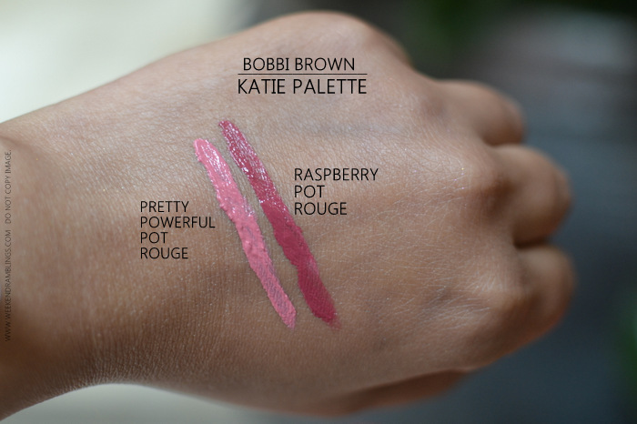Bobbi Brown Katie Makeup Collection Palette Pot Rouges Raspberry Pretty Powerful Swatches Indian Darker Skin Beauty makeup blog