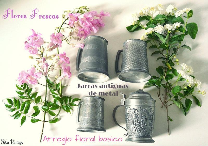 arreglo floral, flores, lantana, jarra metal, jarra estaño, jarras metalicas, diy, hazlo tu mismo,