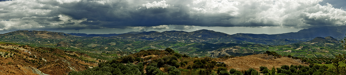 Panoramic view of mountains on Crete, Geece