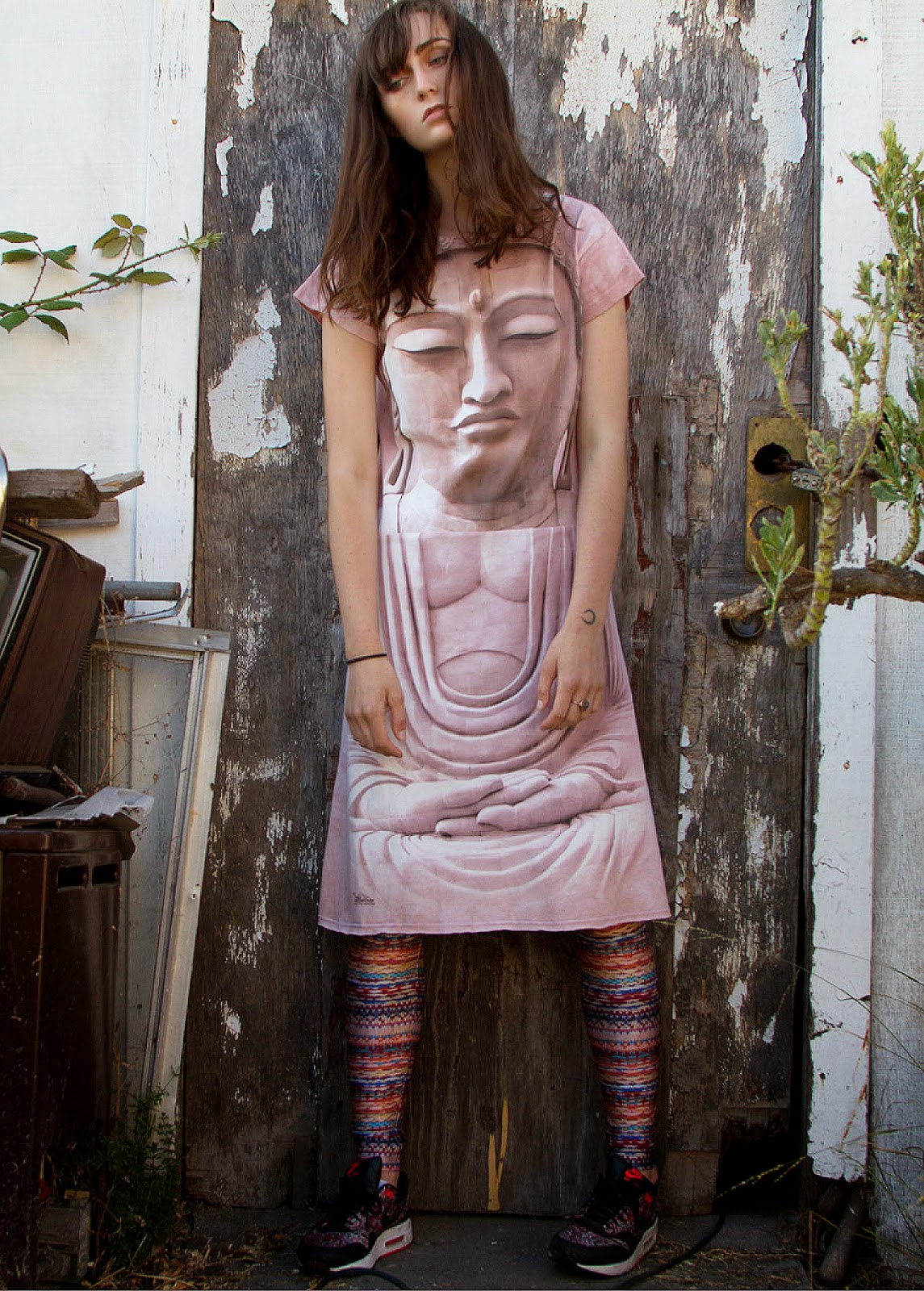 buddha face zen buddhism casual t-shirt dress hippie tie dye idilvice