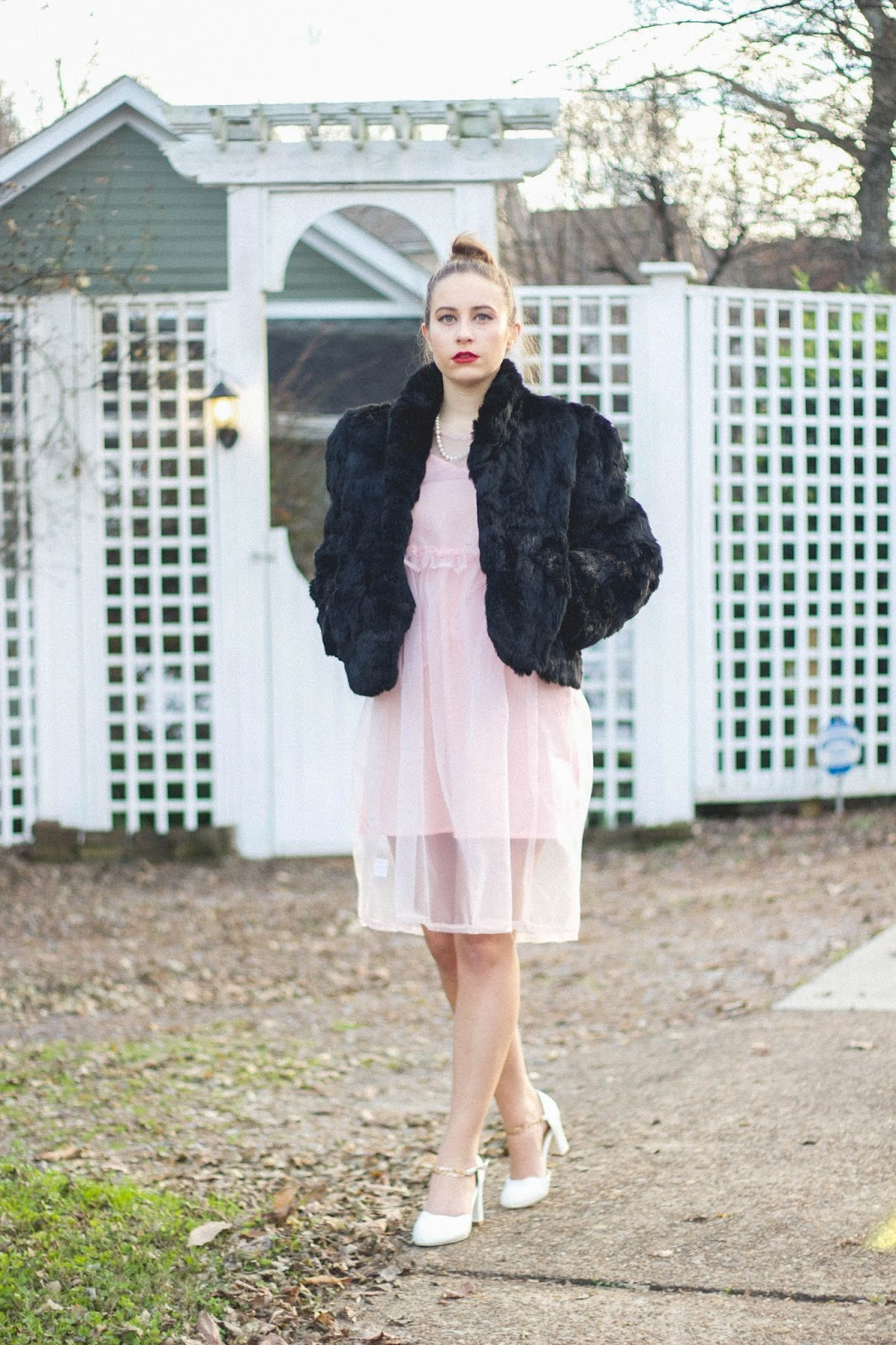 vintage, vintage style, vintage outfit, the white pepper dress, pink chiffon dress, fur coat, pearls, hollywood regency, 60's style, whimsical, dreamy outfit, outfit, classic style, old hollywood outfit, glamorous, holiday party outfit, girly things , dreamer,
