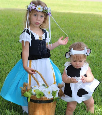 Milkmaid and daisy cow costume 2