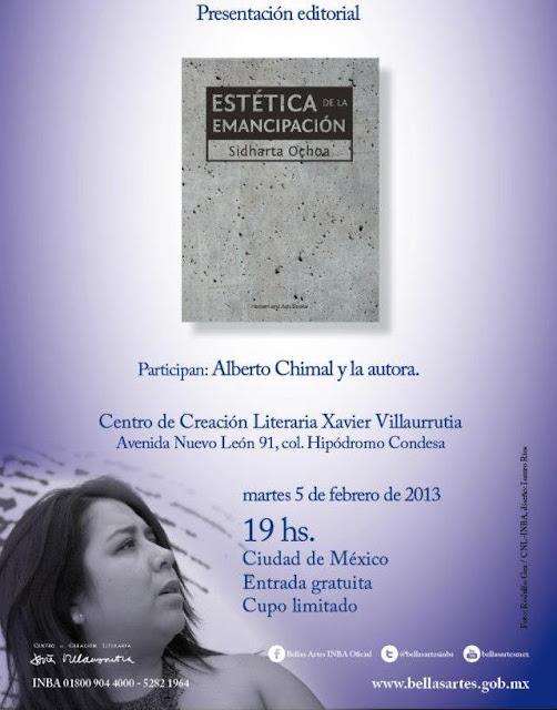 """Presentan libro """"Estética de la emancipación"""" de Sidharta Ochoa en el CCL Xavier Villaurrutia"""