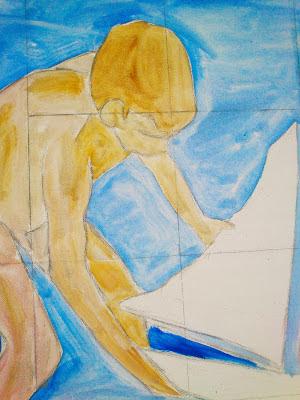 Boceto de Niño jugando con barco