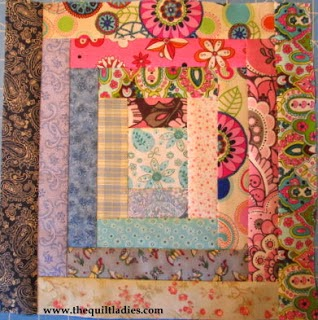 Log Cabin Quilt Pattern Block Tutorial from The Quilt Ladies
