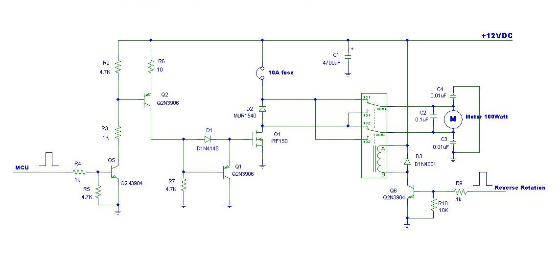 Pwm motor controller with forward and reverse ic schematics for Forward reverse dc motor control circuit