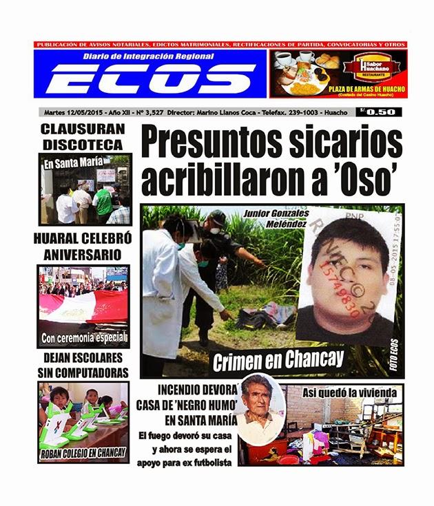 Esta es la edición del Diario ECOS martes 12 de mayo del 2015