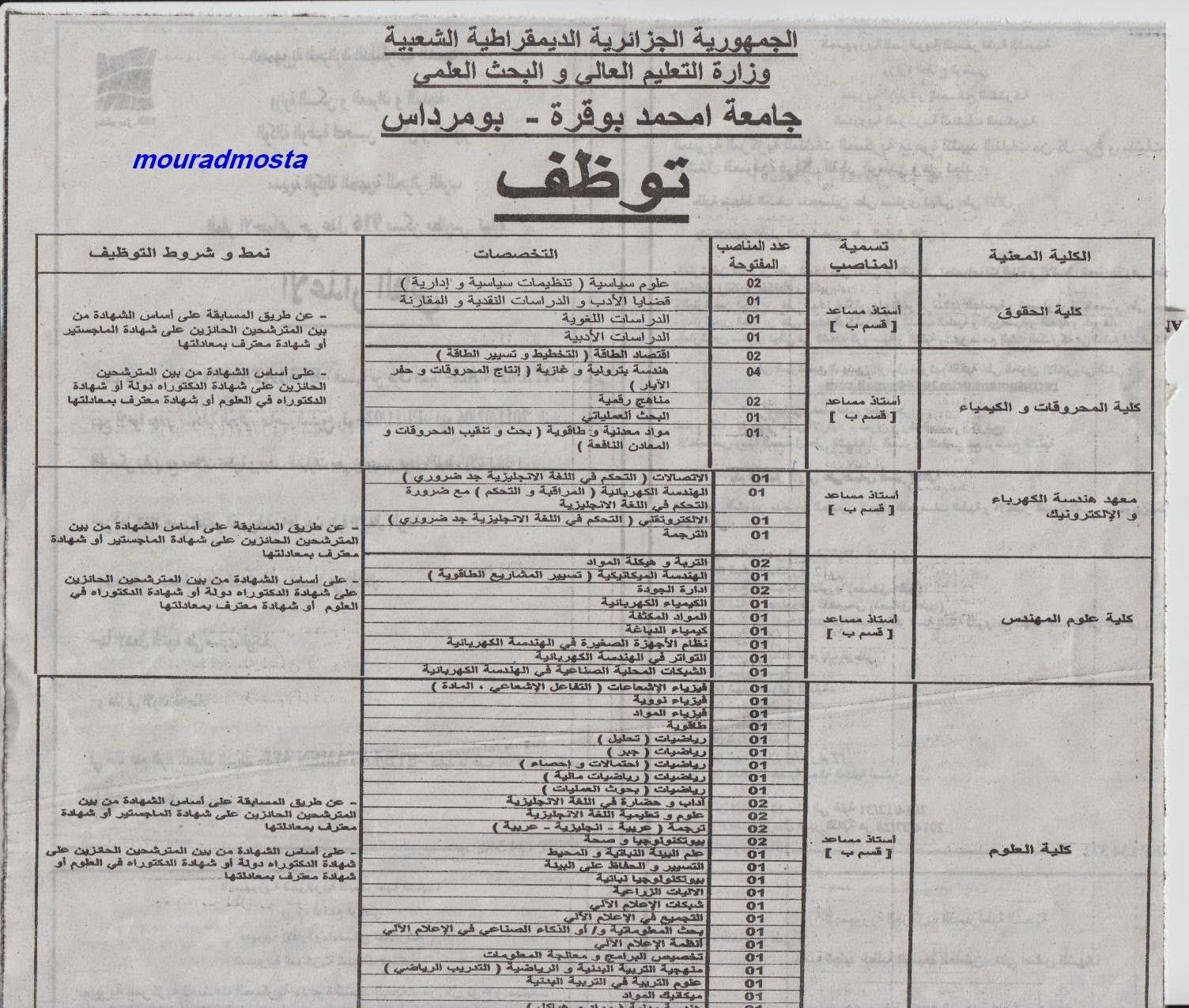 التوظيف في الجزائر : إعلان توظيف في جامعة امحمد بوقرة في بومرداس جويلية 2014
