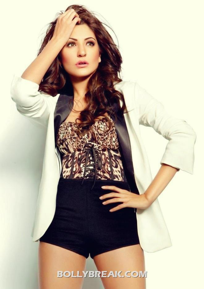 Anushka Sharma black shorts, white jacket - Anushka Sharma Hot Pics May 2012 - Latest