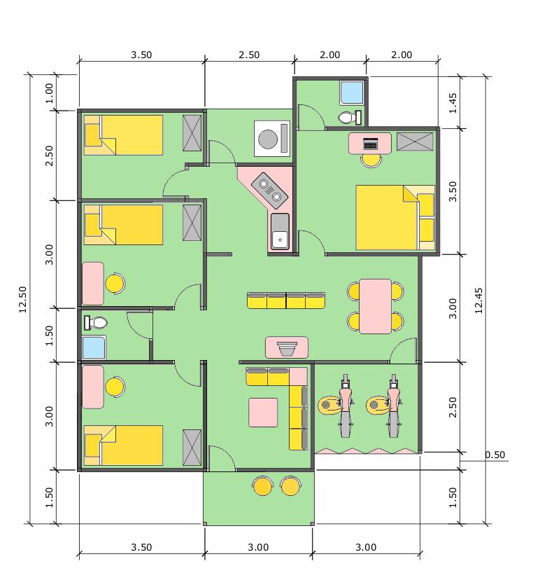 Denah Rumah Minimalis Ukuran Tanah 9 x 12 m