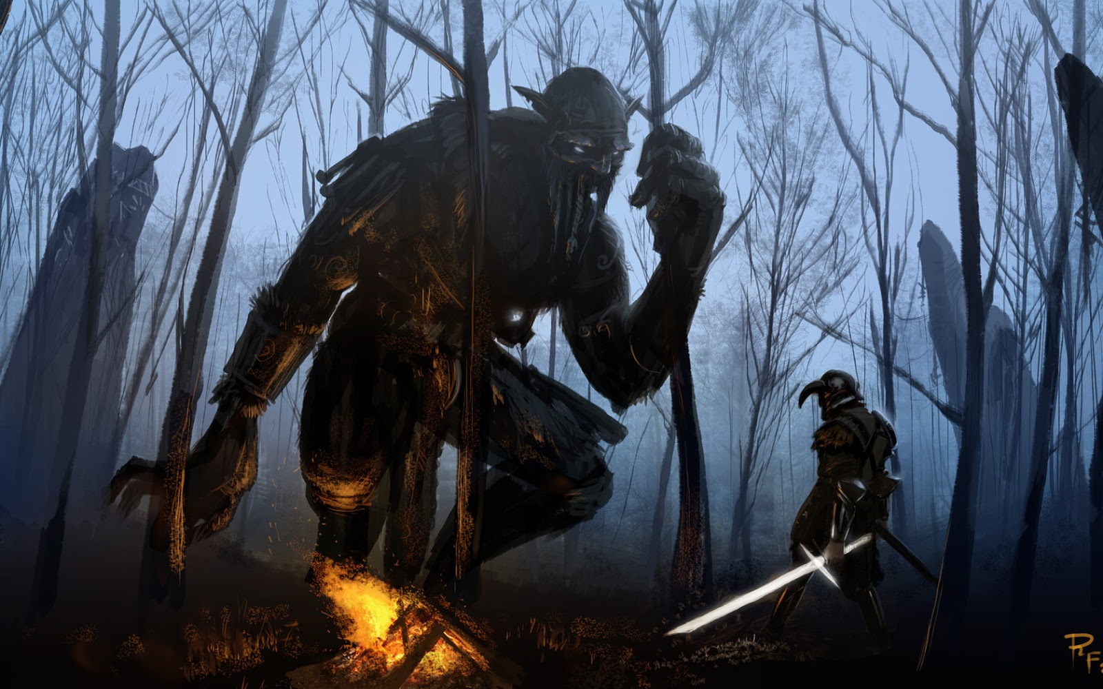 Giant Hero War Hd Fantasy Wallpaper