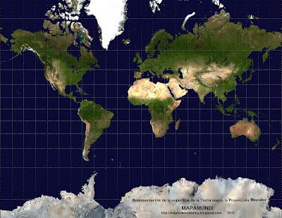 1. Representacion de la superficie de la Tierra segun la Proyección Mercator , wikipedia, mapa grande 2048 X 1588 px