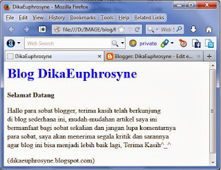 hasil dari contoh Tag Body HTML
