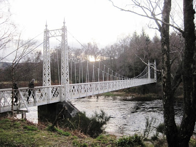 Walk across Cambus o'May suspension bridge to south Deeside