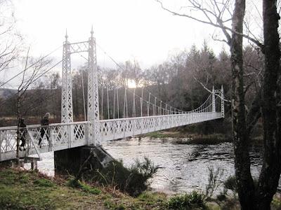 Walk across Cambus o'May suspension bridge to south Deeside