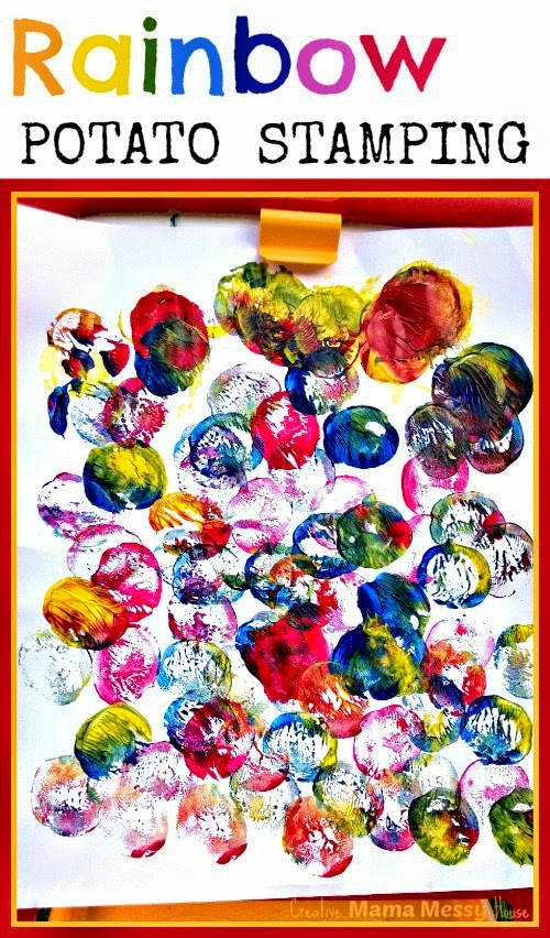 Create rainbow art using primary colored paints and potatoes. Great art and learning activity for children!