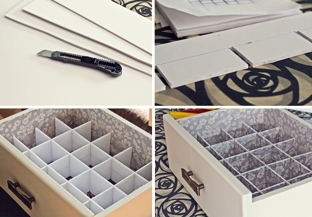 Chocoas diy organizador de cajones y prop sitos de a o nuevo - Como forrar un armario con tela ...