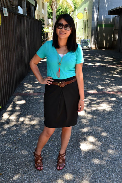 sacramento office fashion blogger angeline evans the new professional mossimo tee limited skirt franco sarto sandals kate spade necklace