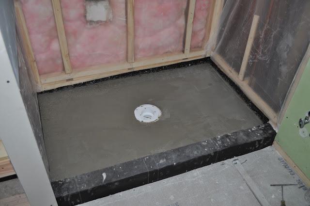 diy, bathroom reno, mortar shower pan, drywall