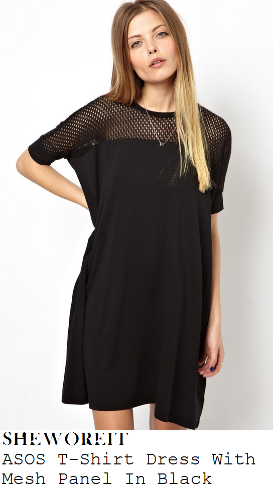 chloe-sims-black-mesh-fishnet-jersey-short-sleeve-t-shirt-swing-mini-dress