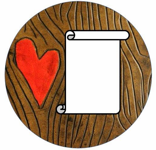 canning jar label - wood grain heart