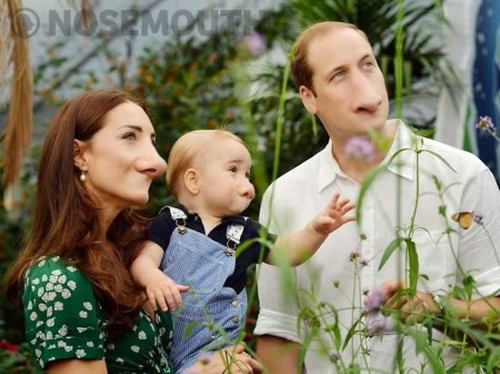 صورة غريبة لهاري وكيت وطفلهما