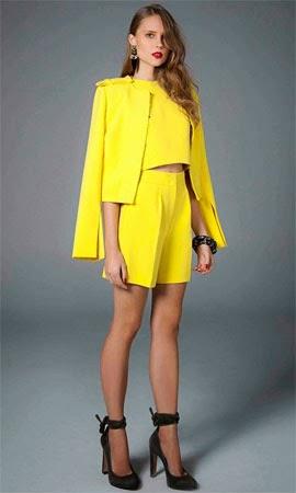 coleção inverno TalieNK 2014 look amarelo blazer cropped e short NK Store