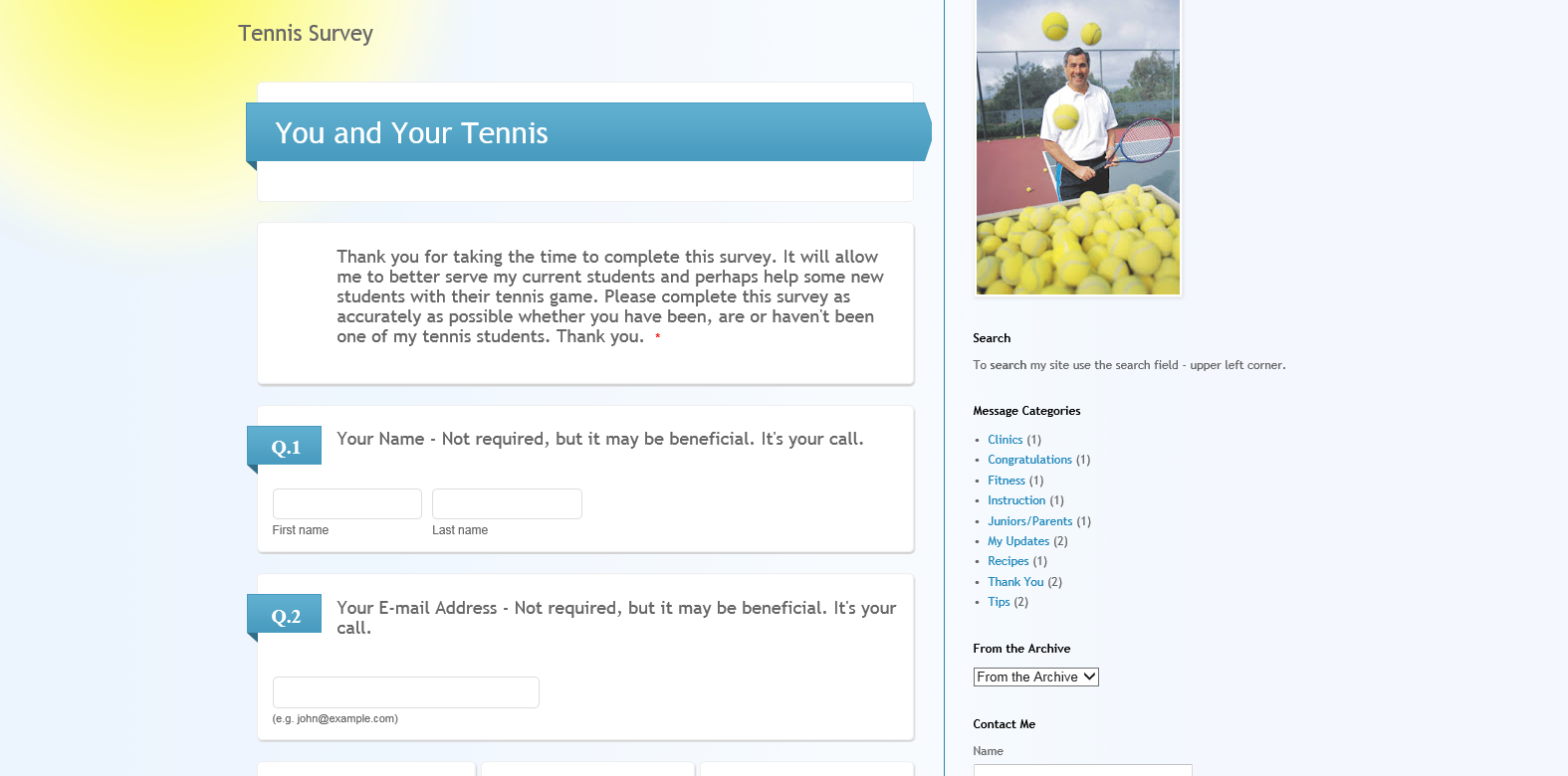 Teaching Tennis Pro Survey