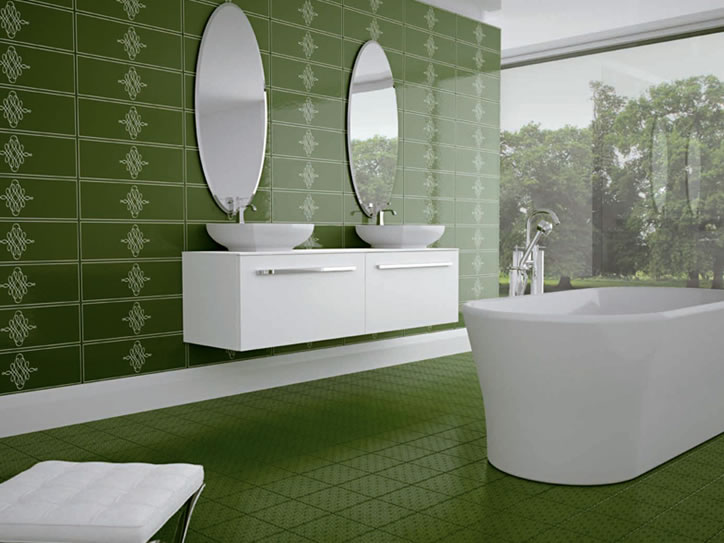 Bathroom tile home design for Decorative bathroom wall tile designs