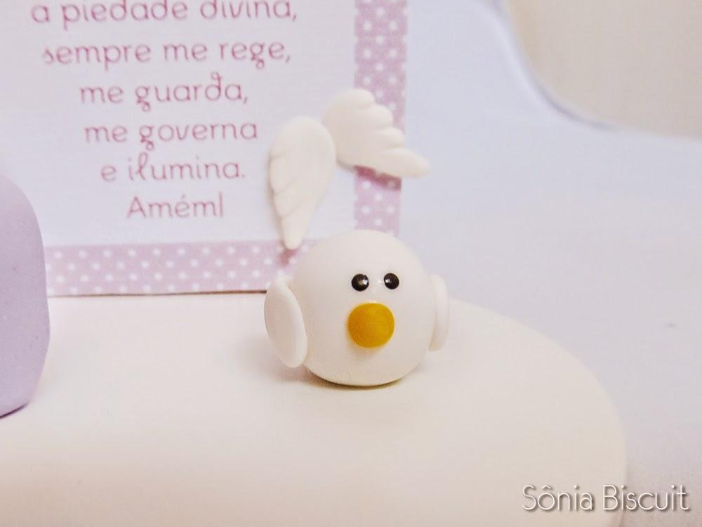 Topo de Bolo Biscuit Batizado Anjinha Anjo