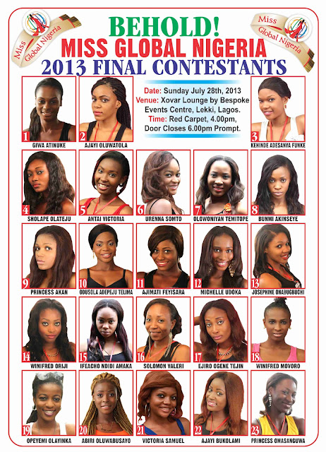 miss global nigeria 2013 contestants