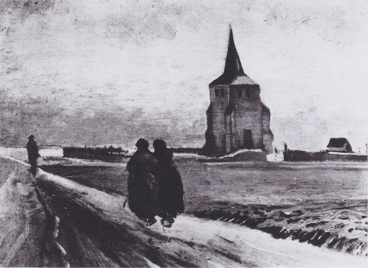 The Old Tower of Nuenen with People Walking by Vincent van Gogh