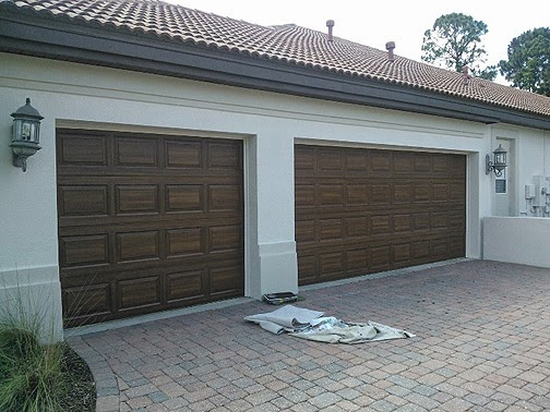 Finished faux painting garage door everything i create for Paint garage door to look like wood