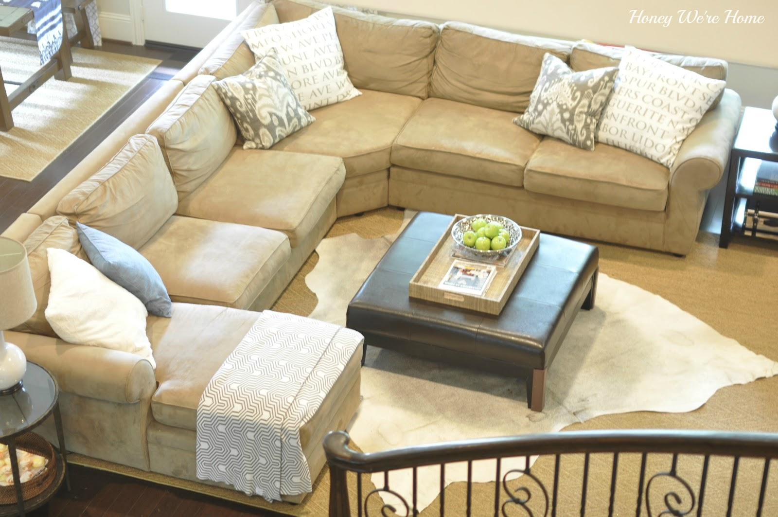 Cowhide Rug Love Our Updated Living Room Honey We Re Home