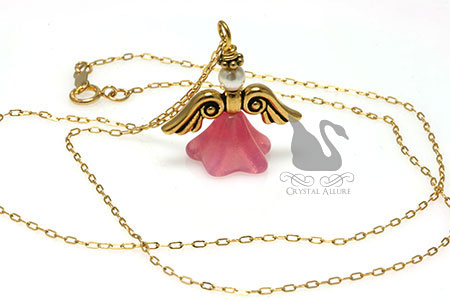 Pink Guardian Angel Pendant Necklace (N003)