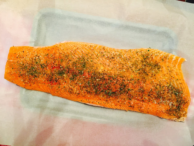 Side of salmon ready for smoking