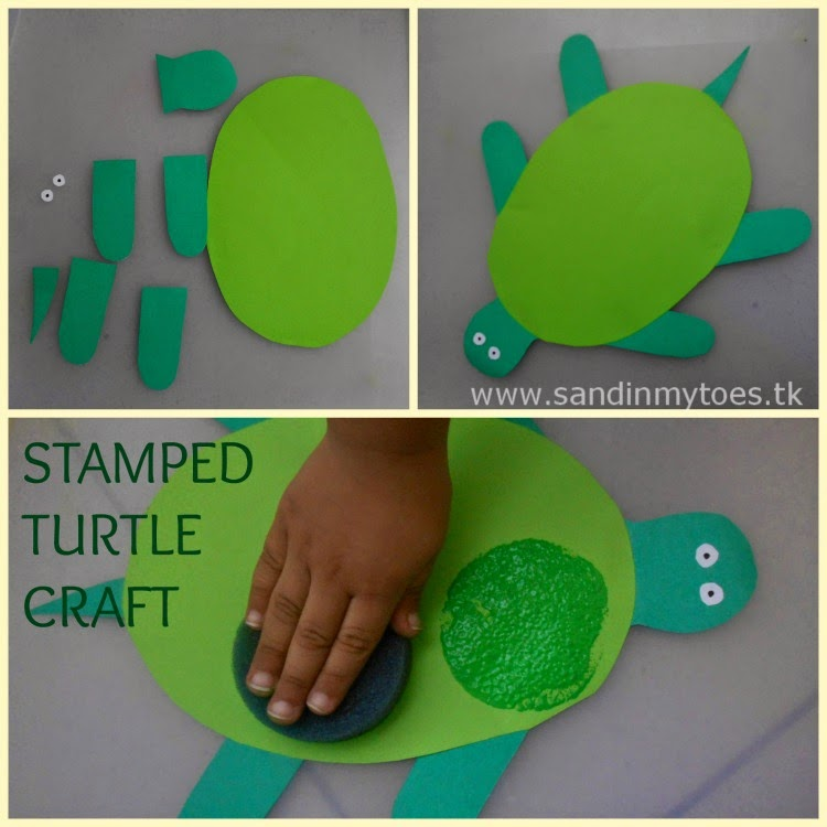 Simple turtle craft with stamp painting for toddlers and preschoolers.