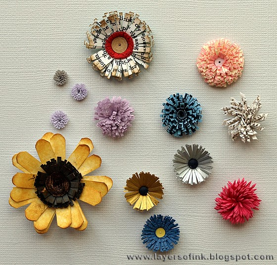 Layers of ink quilling fringed flowers tutorial for Simple paper quilling designs