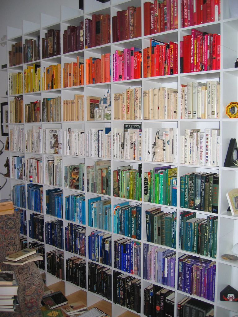 Co colour coordinated bookshelf - Eye Candy Breakfast Color Coded Bookshelves