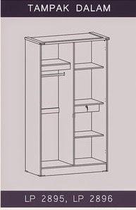 Tampak Dalam Lemari Pakaian 2 Pintu LP 2895 Graver Furniture