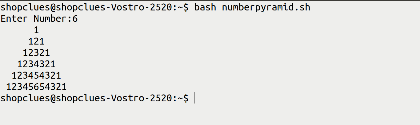 how to print number pyramid in bash script
