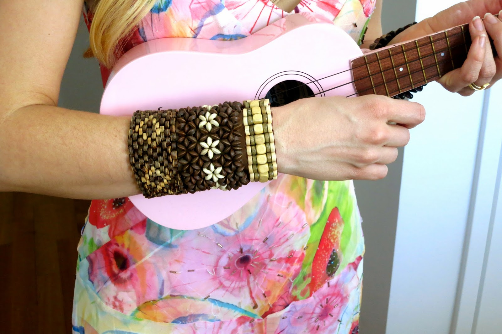 Purim Luau, wood bead bracelets, pink ukelele, floral dress, party, luau