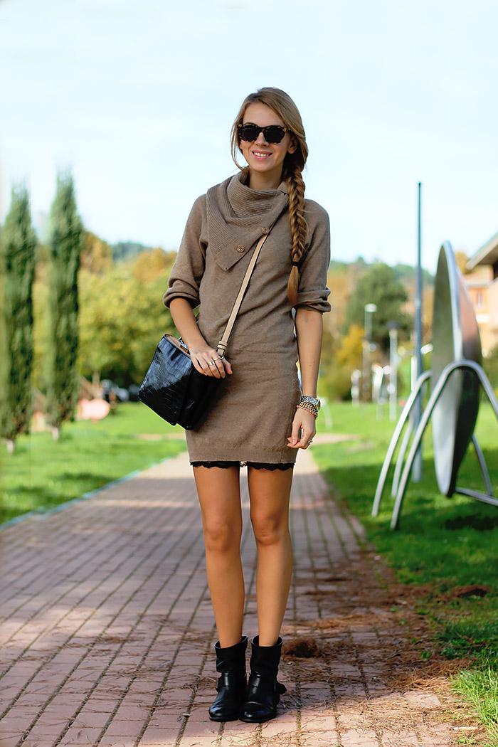 knit dress over slip dress, zara biker boots, fall autumn outfit, illesteva sunglasses