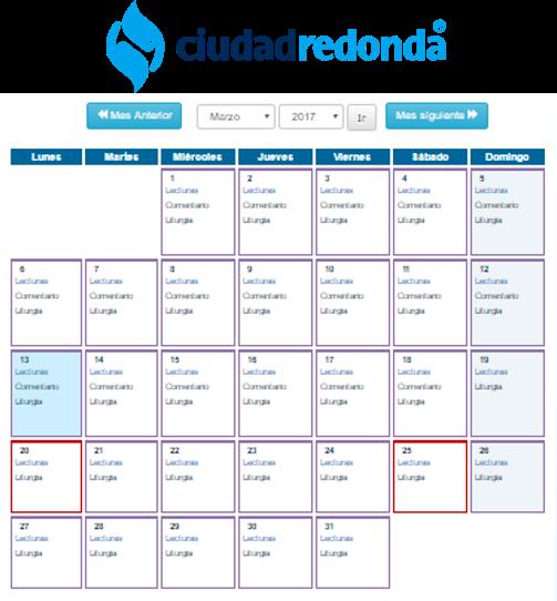 Calendario Litúrgico 2017