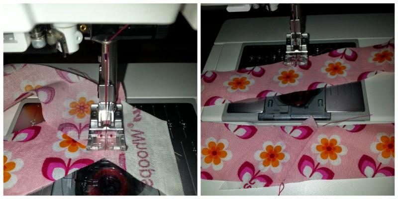 Eventueel aan elkaar naaien van de repen stof voor eigen gemaakt biaisband