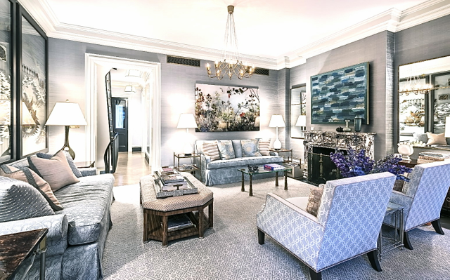 Blue and grey living room in Steven Gambrel's home