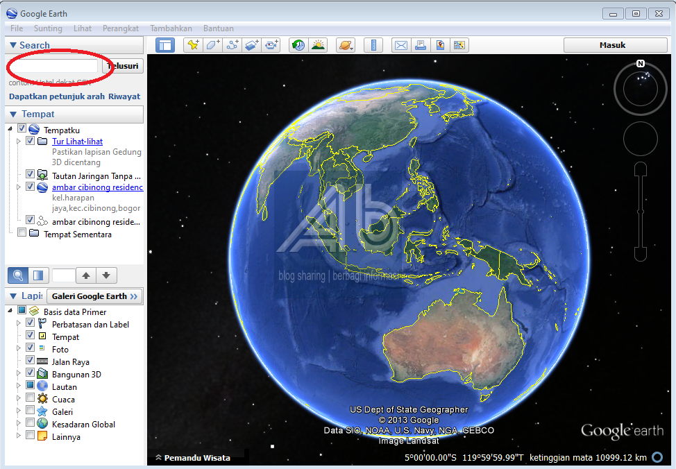 cara menandai alamat rumah di google earth